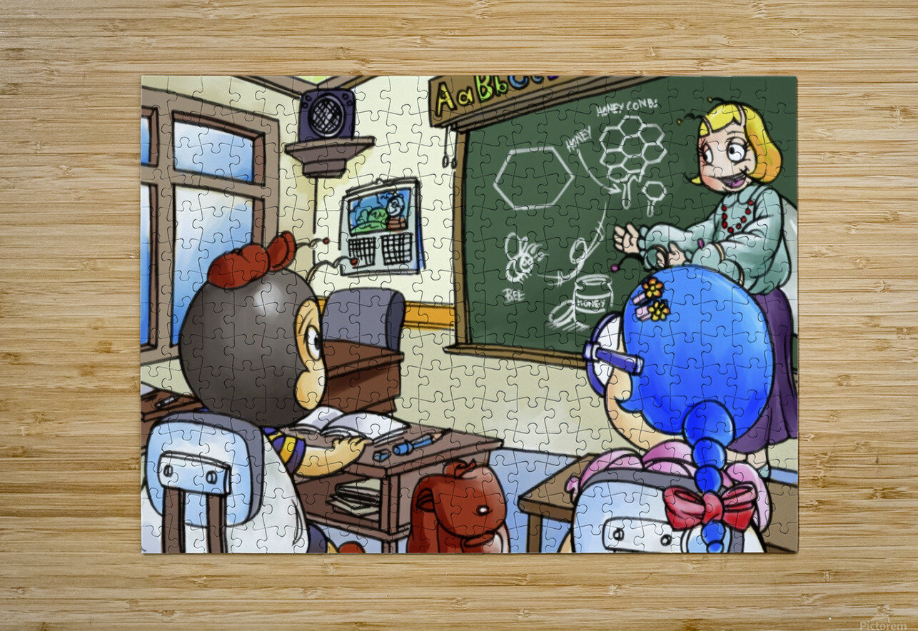 School Days - Teacher - Bugville Critters  HD Metal print with Floating Frame on Back