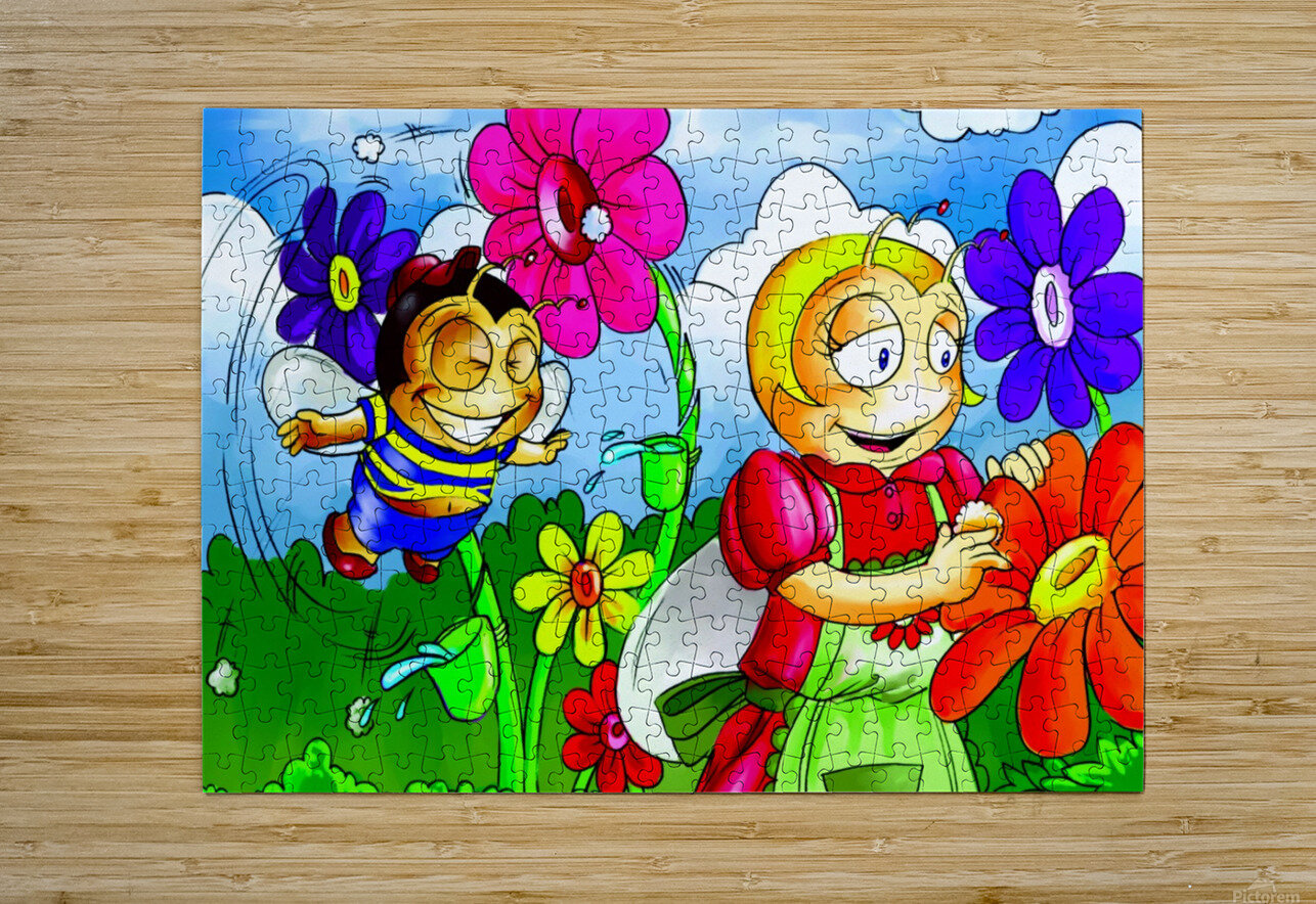 Mother Bee at Work - Bugville Critters  HD Metal print with Floating Frame on Back
