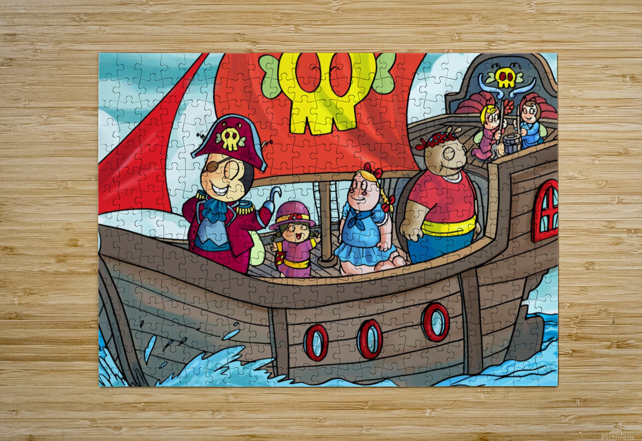 Pirate Ship on the High Seas - Bugville Critters  HD Metal print with Floating Frame on Back