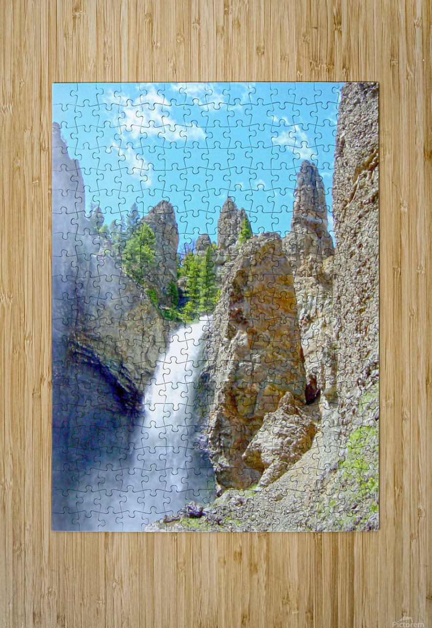 Yellowstone Waterfall - Grand Canyon of the Yellowstone River - Yellowstone National Park  HD Metal print with Floating Frame on Back