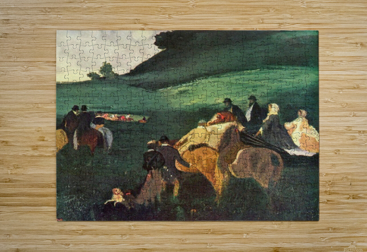 Riders in the  landscape by Degas  HD Metal print with Floating Frame on Back