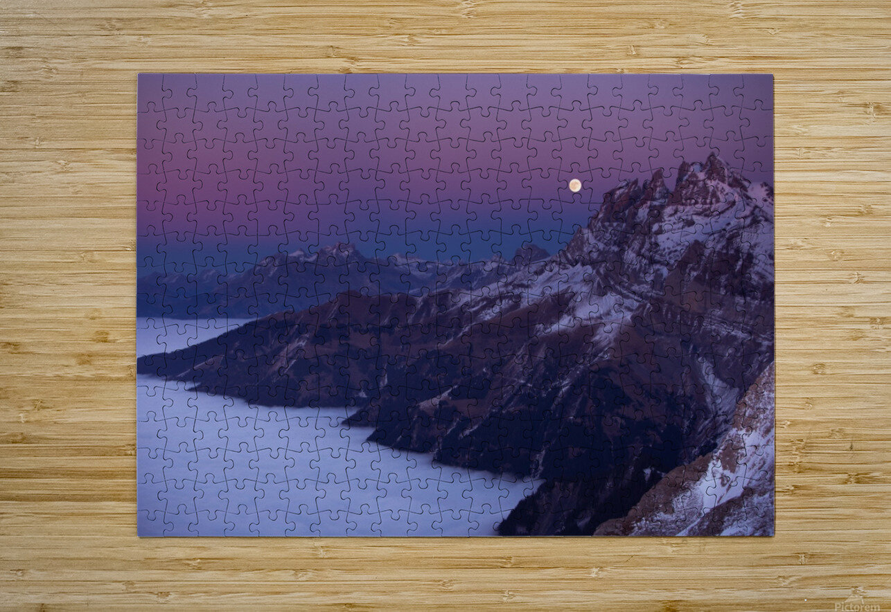 Full Moon over a sea of clouds  HD Metal print with Floating Frame on Back