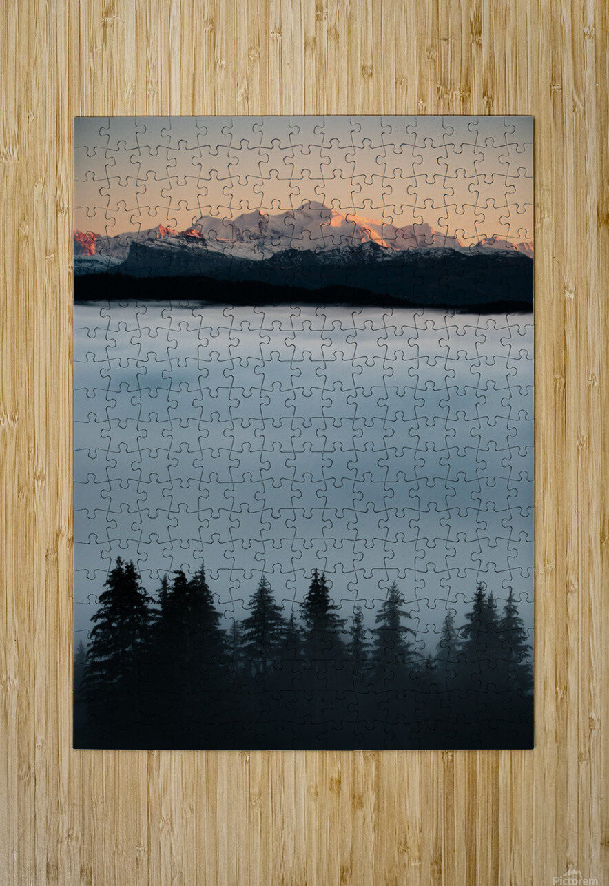 Mont Blanc and its sea of clouds  HD Metal print with Floating Frame on Back