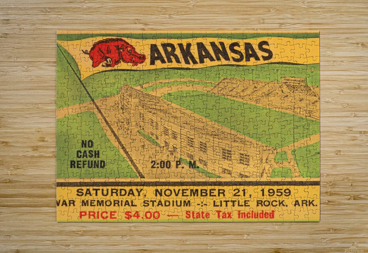1959 Arkansas Football Ticket Art  HD Metal print with Floating Frame on Back