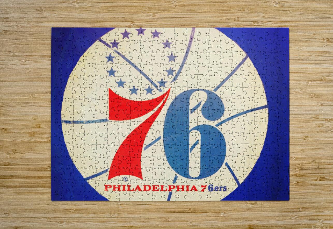 Vintage Philadelphia 76ers Art  HD Metal print with Floating Frame on Back