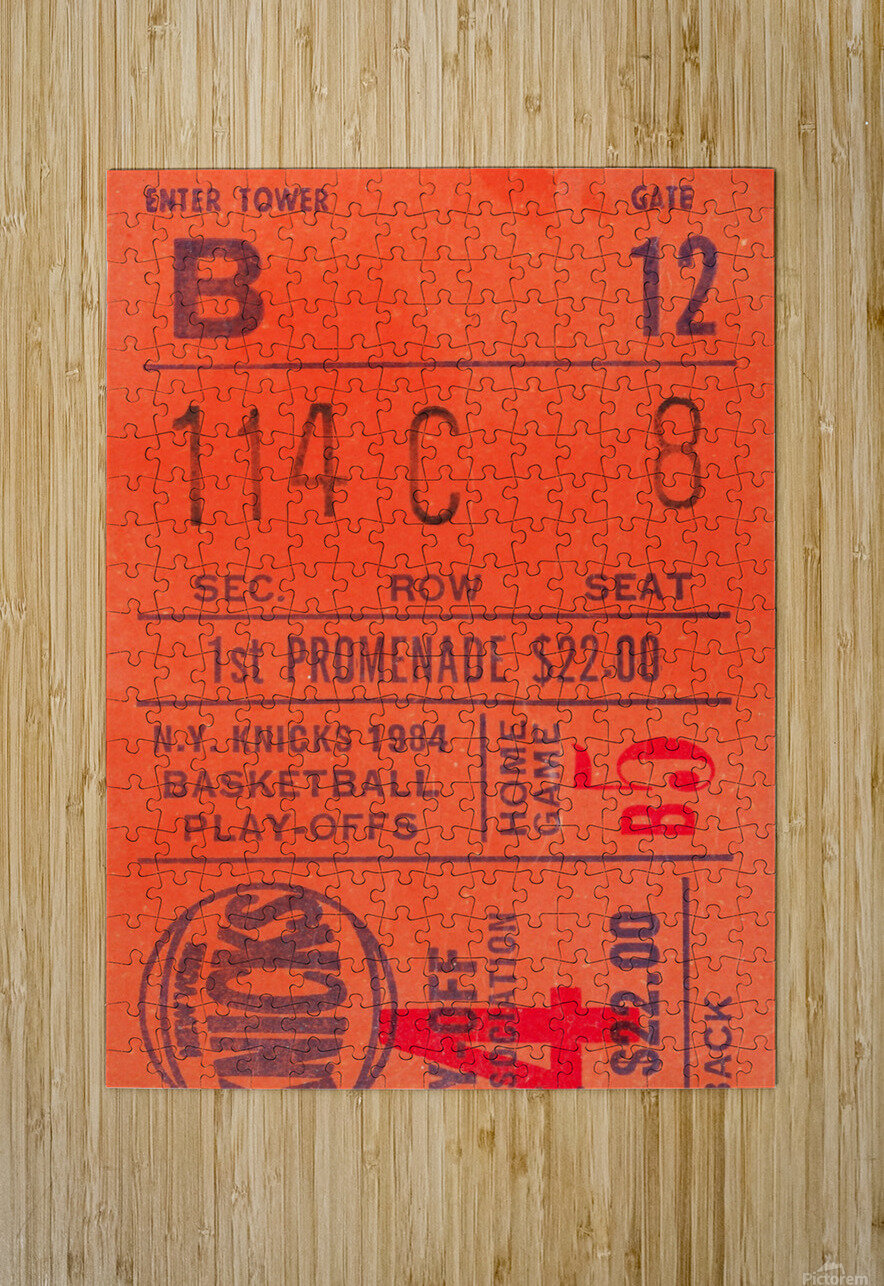 1984 New York Knicks Ticket Stub Art  HD Metal print with Floating Frame on Back