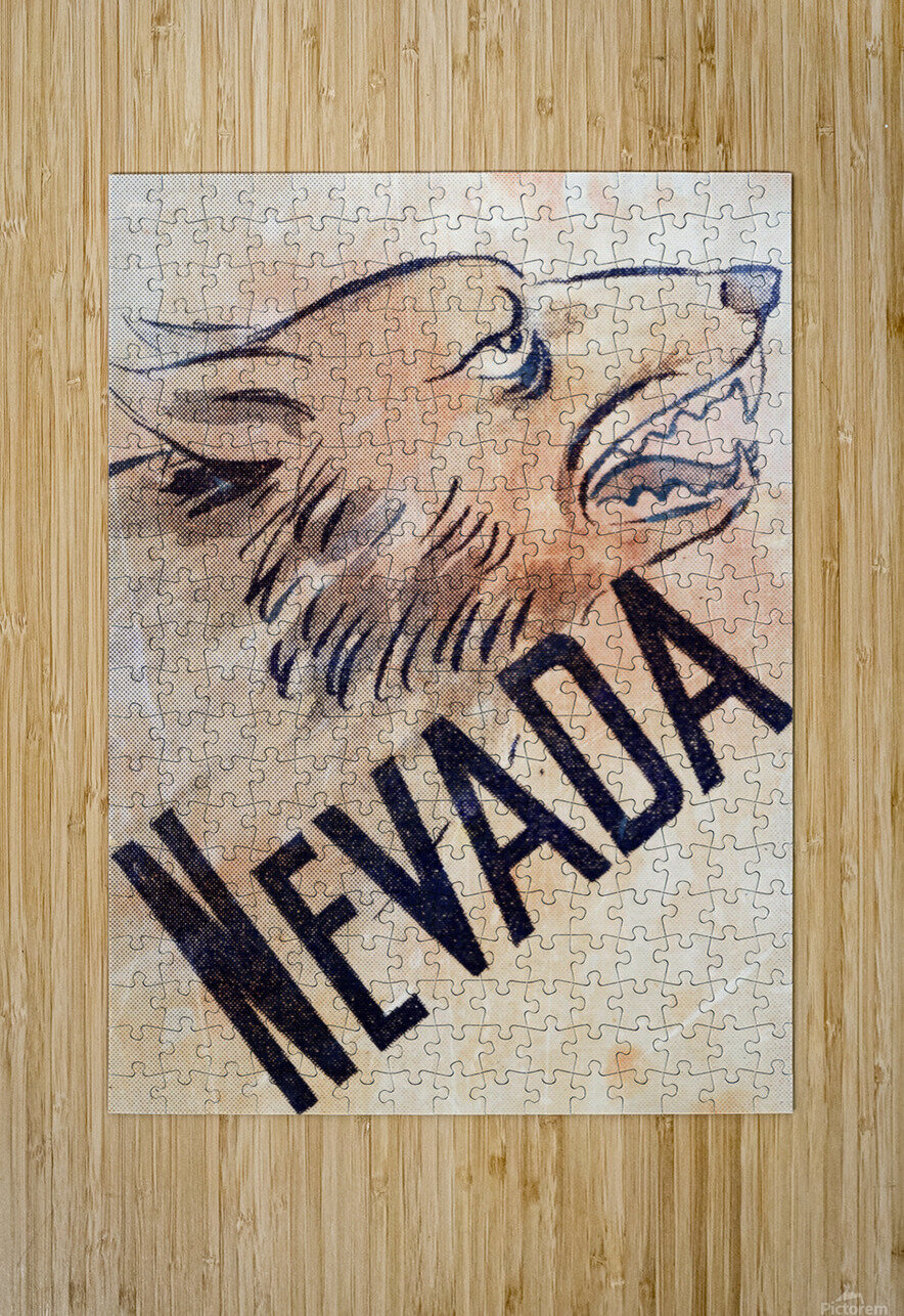1946 Nevada Wolfpack Art  HD Metal print with Floating Frame on Back