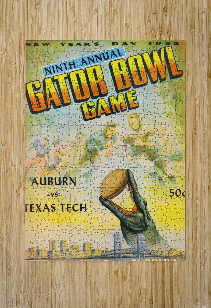 1954 Gator Bowl Auburn vs. Texas Tech  HD Metal print with Floating Frame on Back
