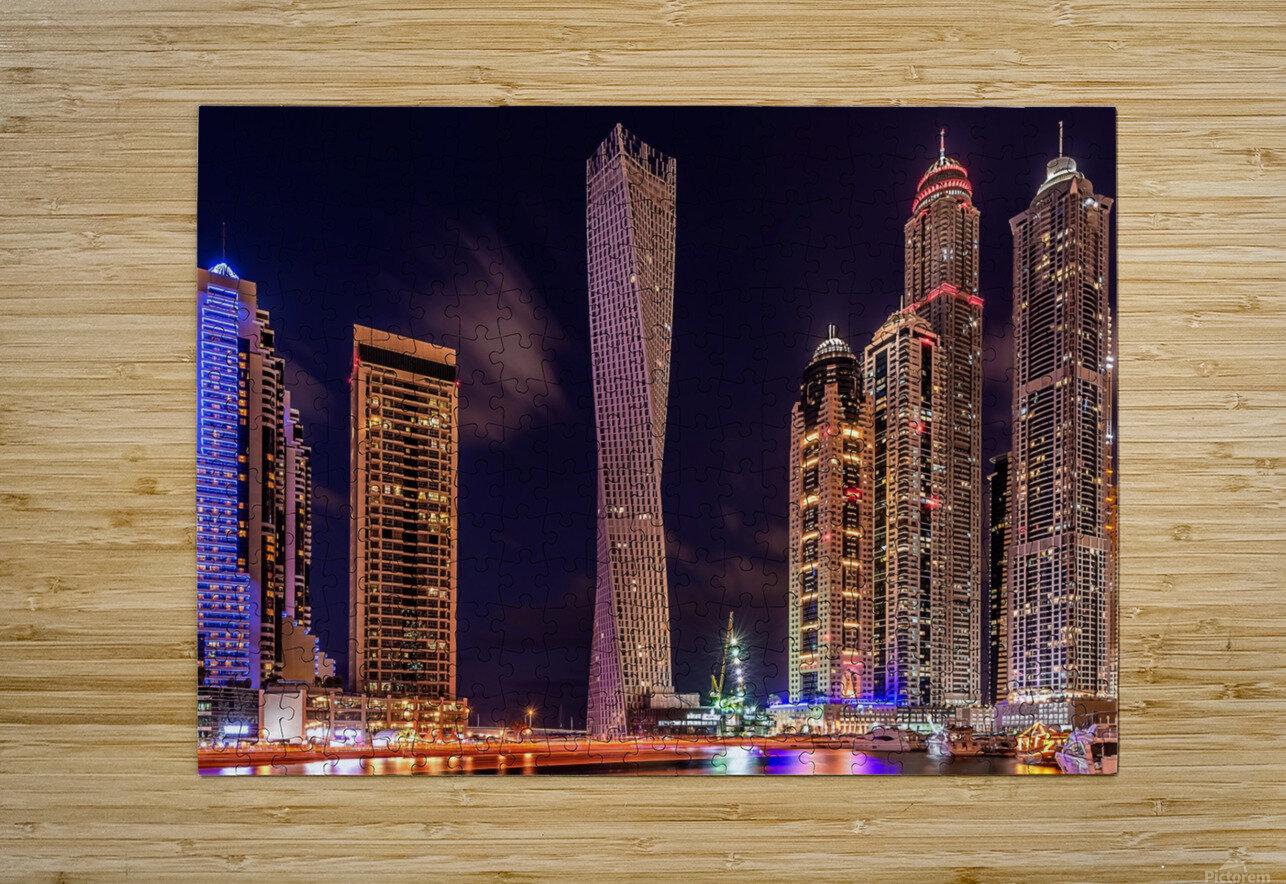 Dubai Marina Night Shot  HD Metal print with Floating Frame on Back
