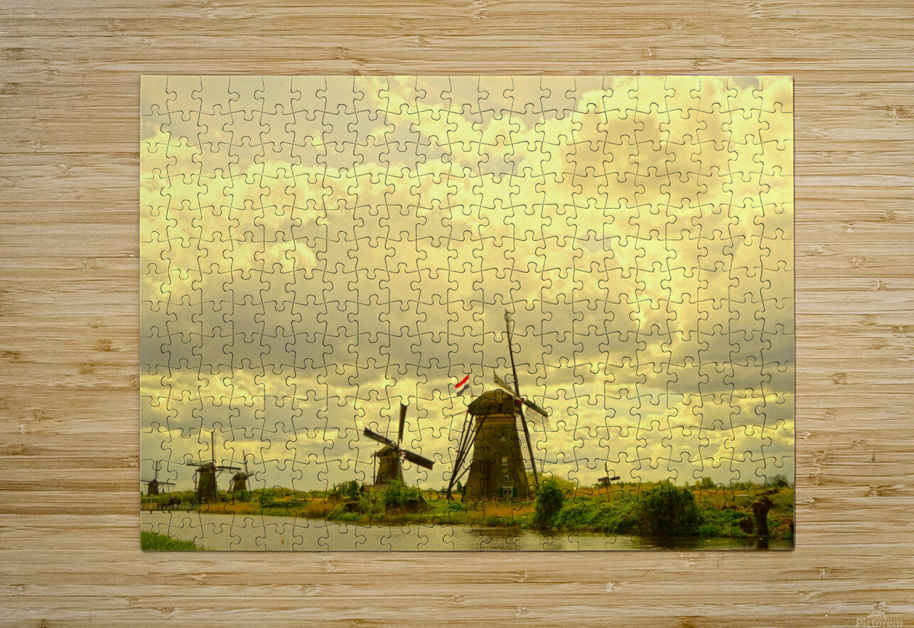Windmills at Sunset   HD Metal print with Floating Frame on Back