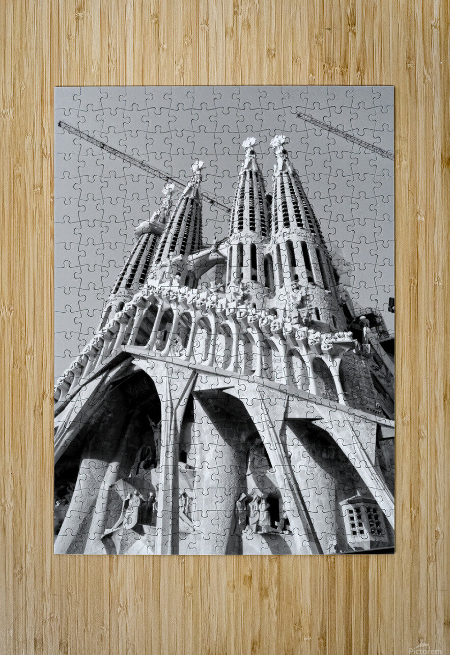 Barcelona Cathedral - La Sagrada Familia in black and white  HD Metal print with Floating Frame on Back