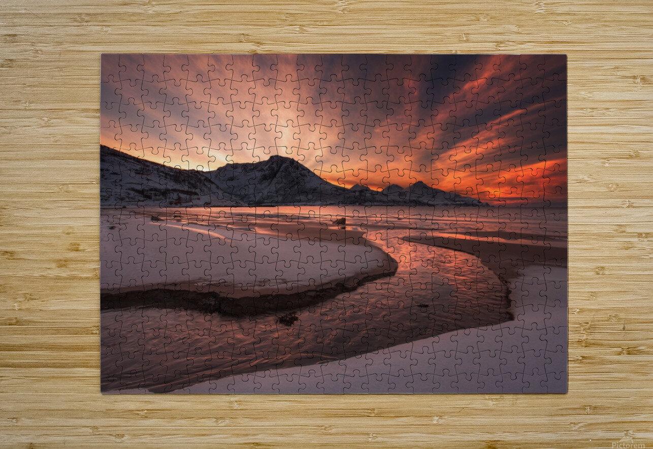 Golden Sunset  HD Metal print with Floating Frame on Back