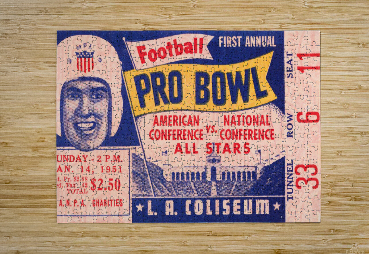 1951 First Pro Bowl Ticket Stub Art  HD Metal print with Floating Frame on Back