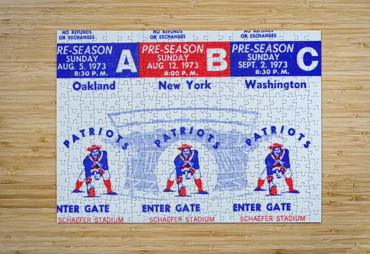 1973 New England Patriots Season Tickets  HD Metal print with Floating Frame on Back