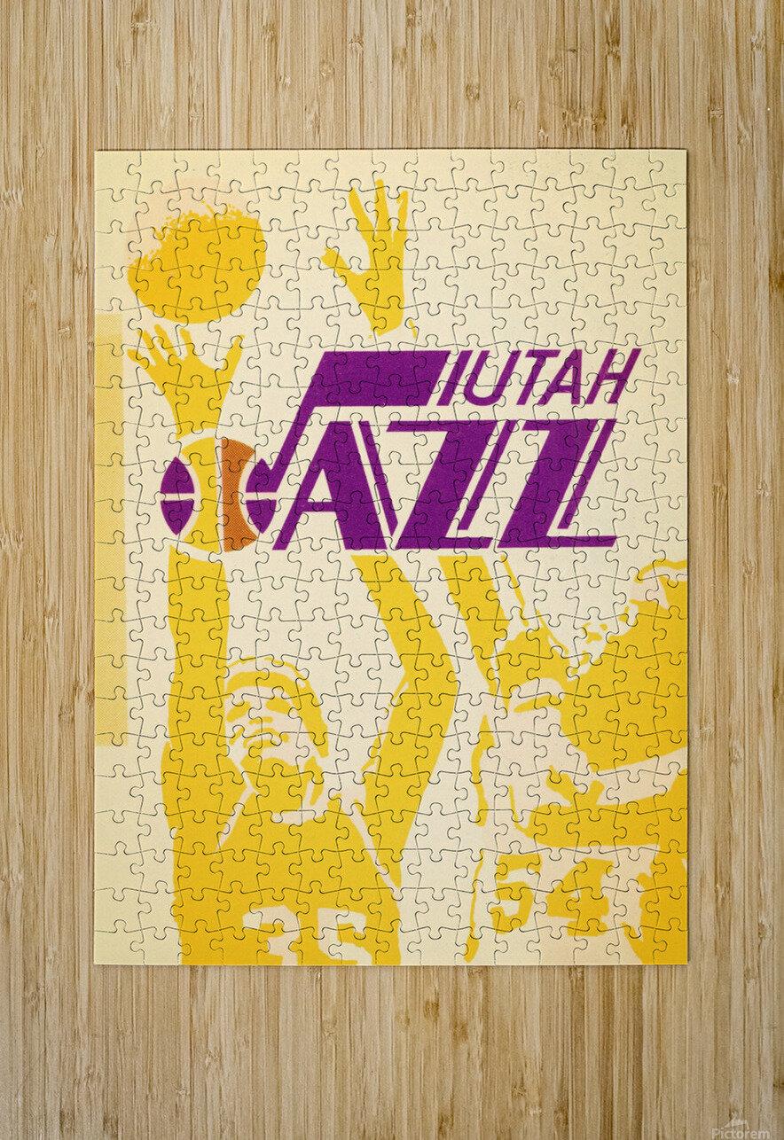 1980 Utah Jazz Retro Basketball Art  HD Metal print with Floating Frame on Back