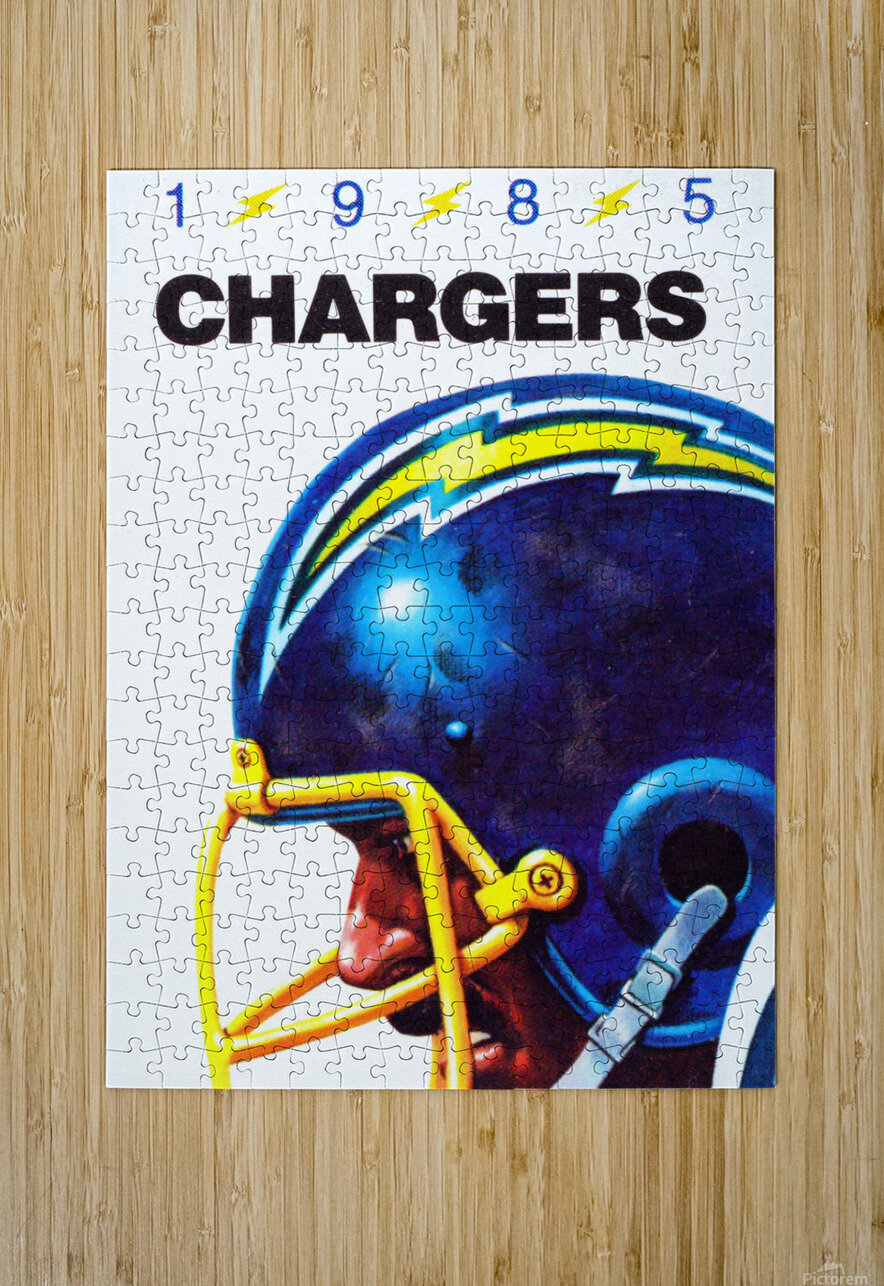 1985 San Diego Chargers Football Poster  HD Metal print with Floating Frame on Back