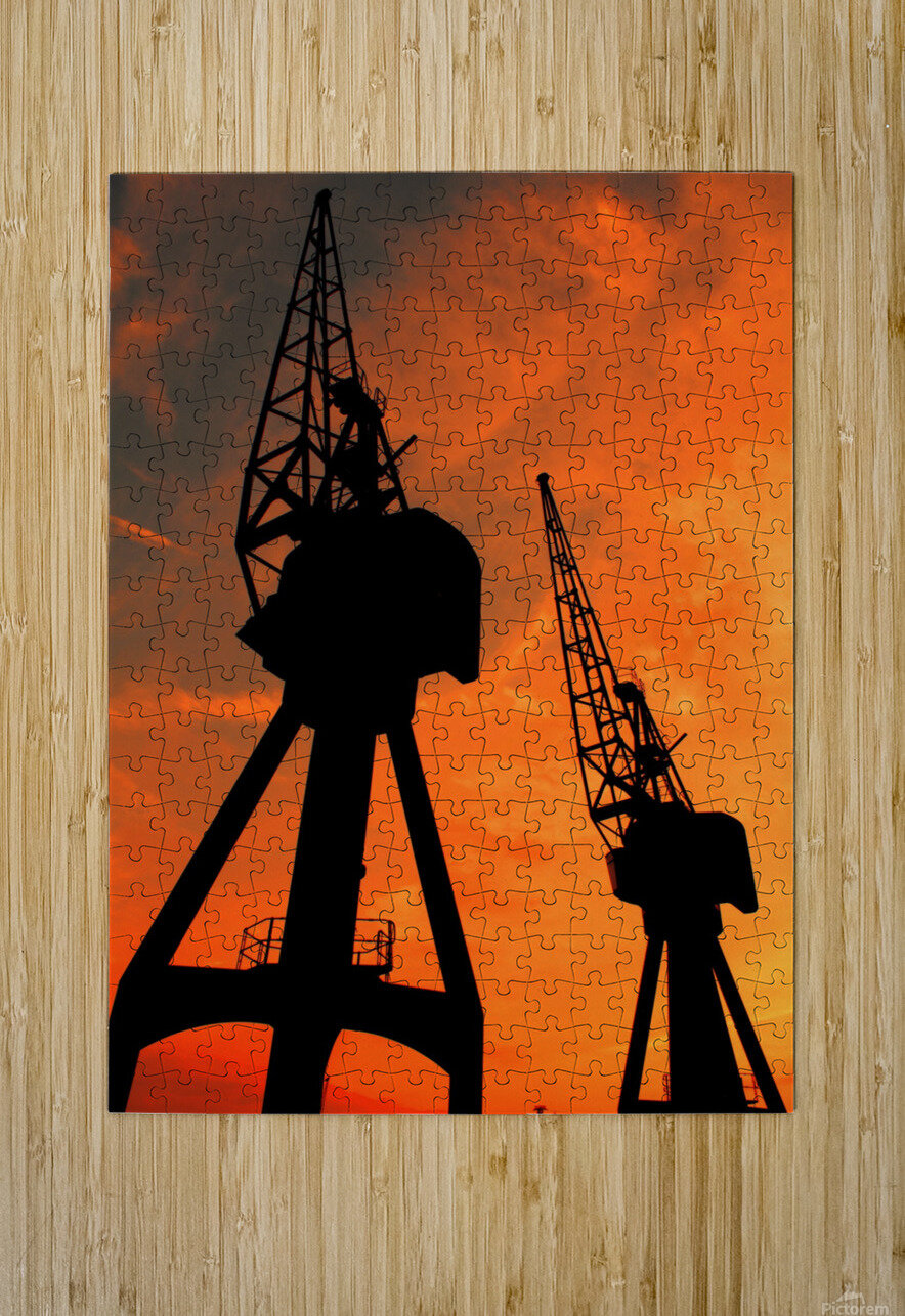 Sunset port tower cranes  HD Metal print with Floating Frame on Back