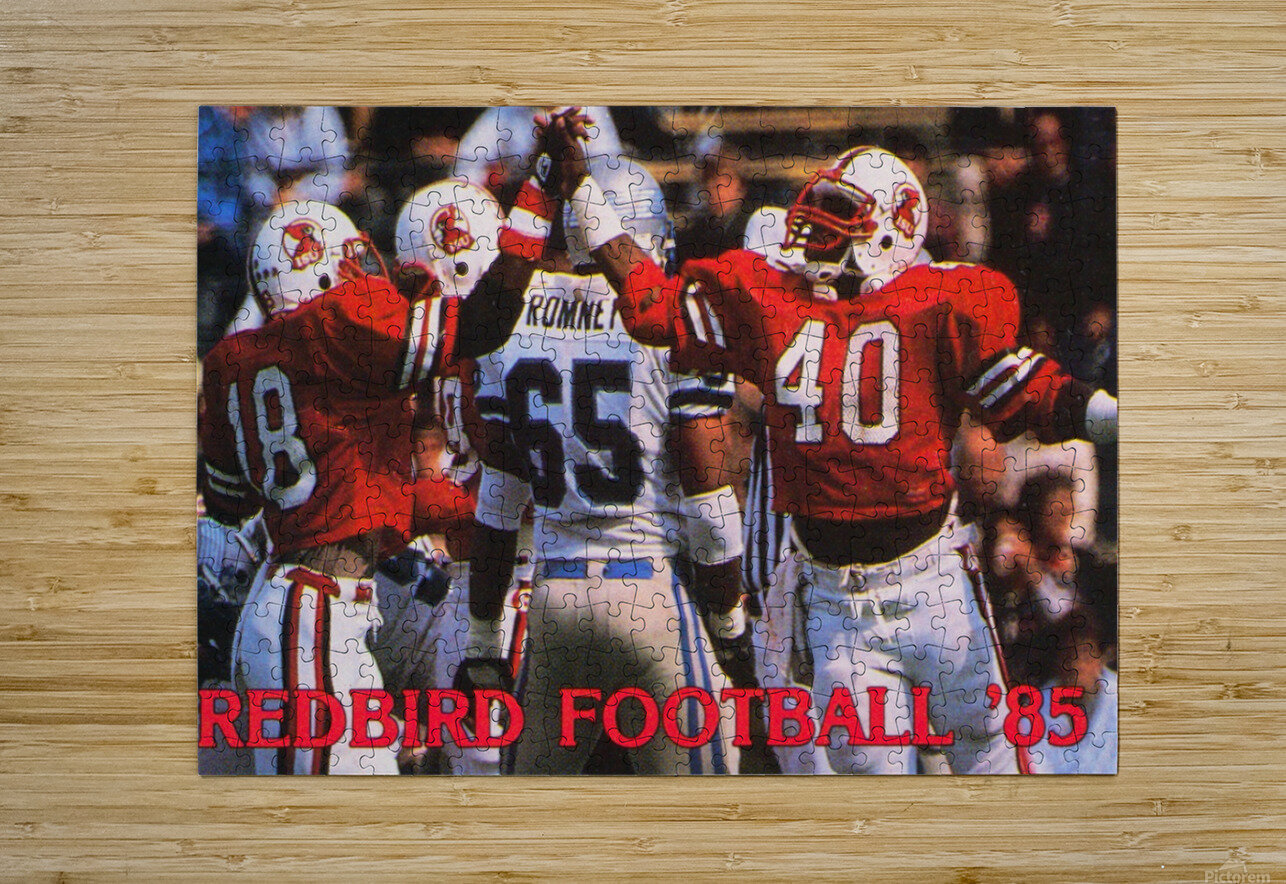 1985 Illinois State Redbirds Football Poster  HD Metal print with Floating Frame on Back