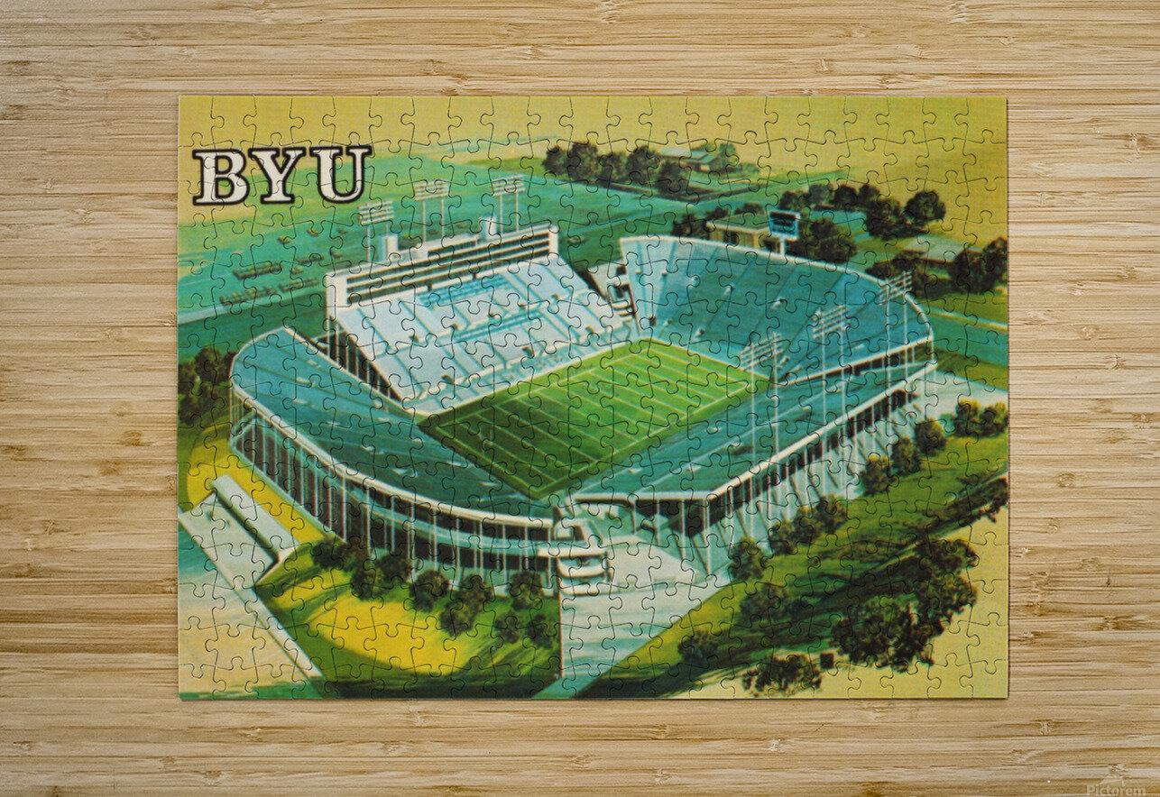 1982 BYU Cougar Stadium Art  HD Metal print with Floating Frame on Back