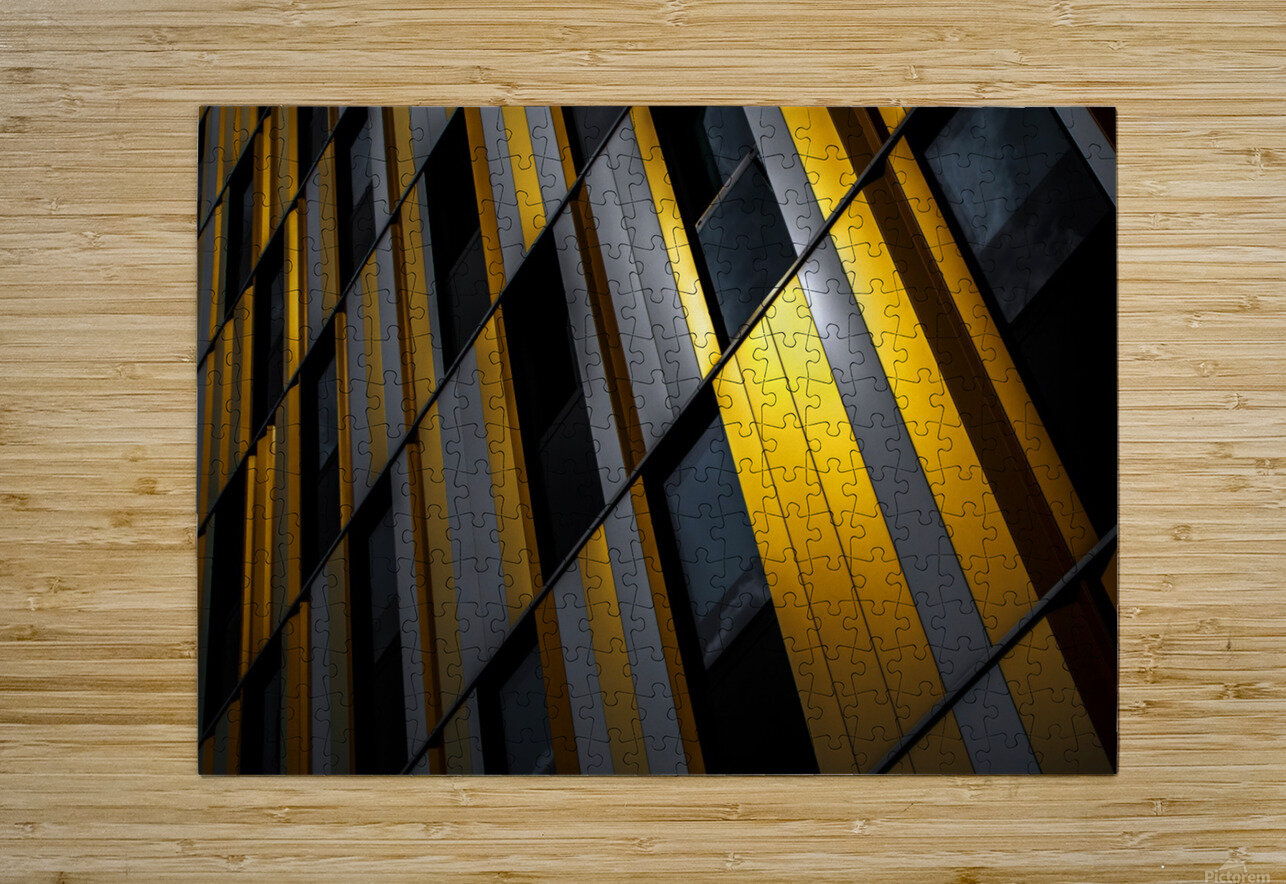 Yellow wall  HD Metal print with Floating Frame on Back