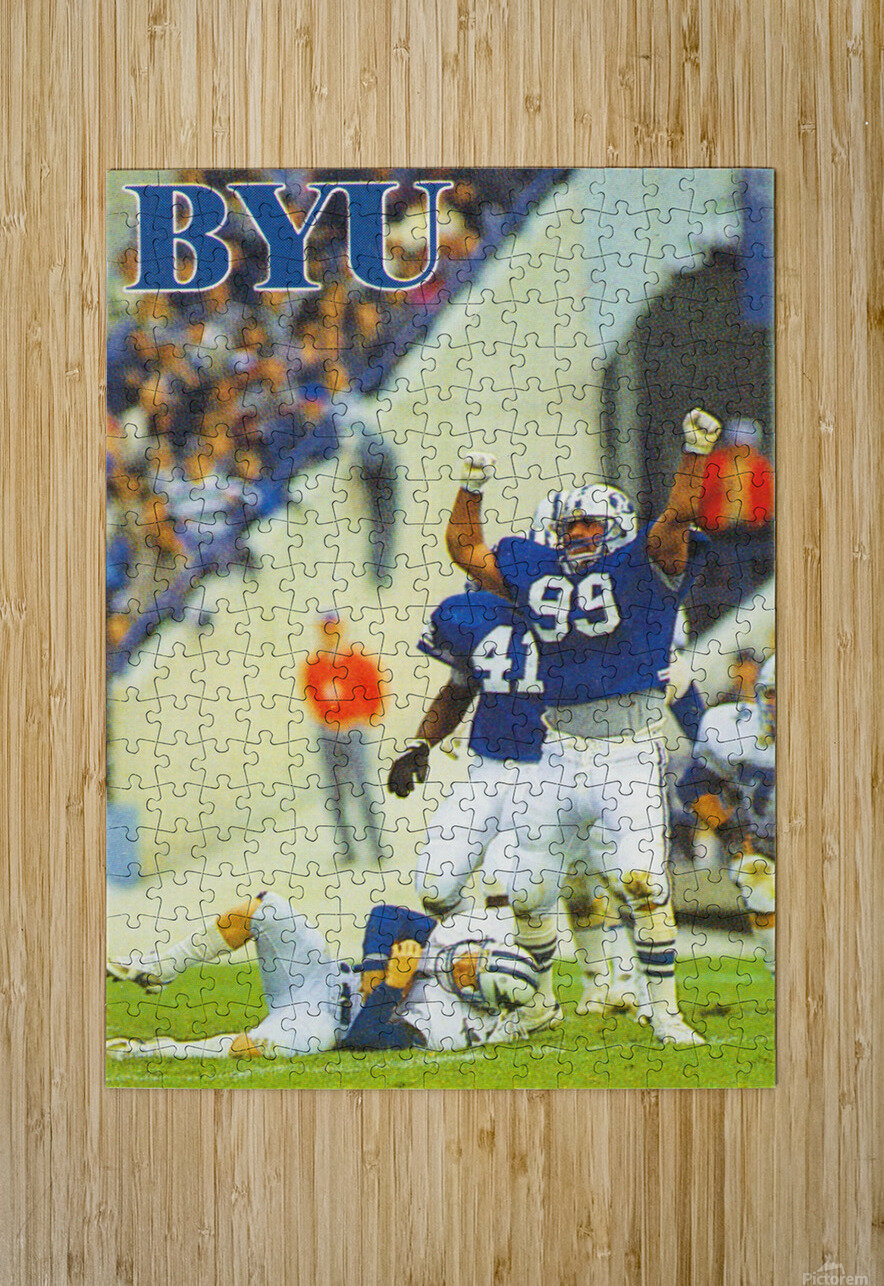 1986 BYU Cougars Football Poster  HD Metal print with Floating Frame on Back