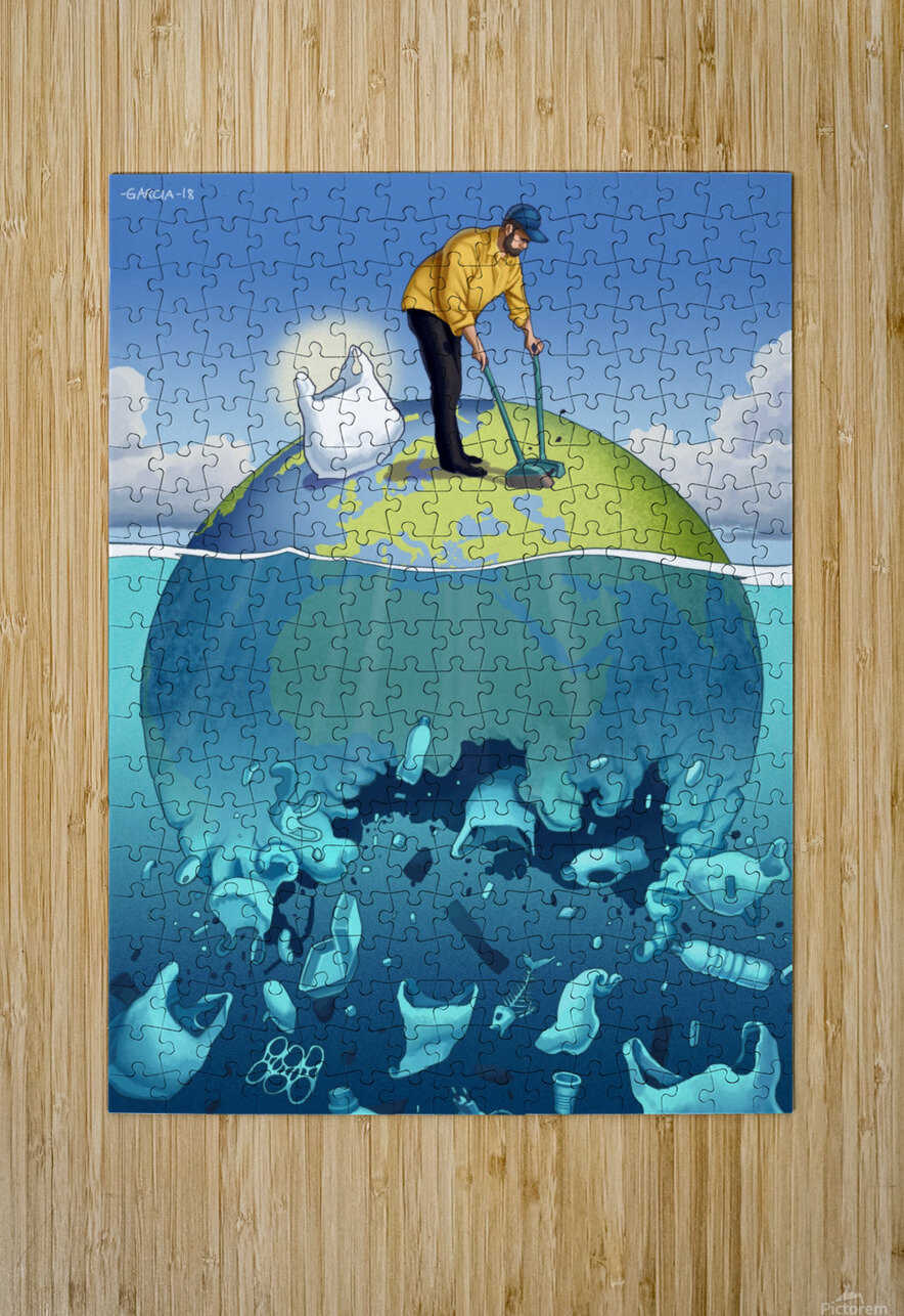 Clean the Planet  HD Metal print with Floating Frame on Back