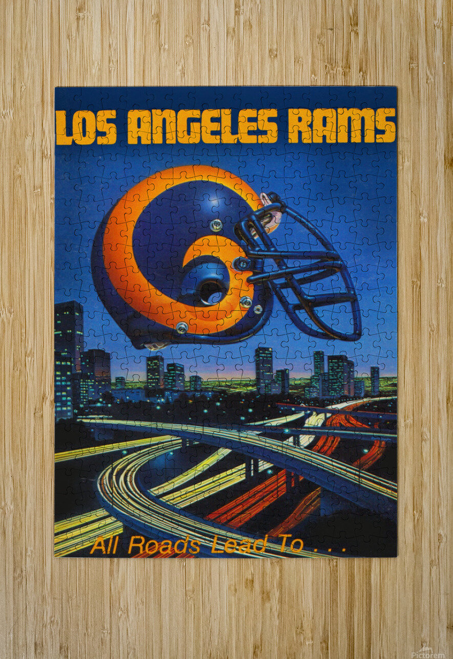 1983 Los Angeles Rams Football Poster  HD Metal print with Floating Frame on Back