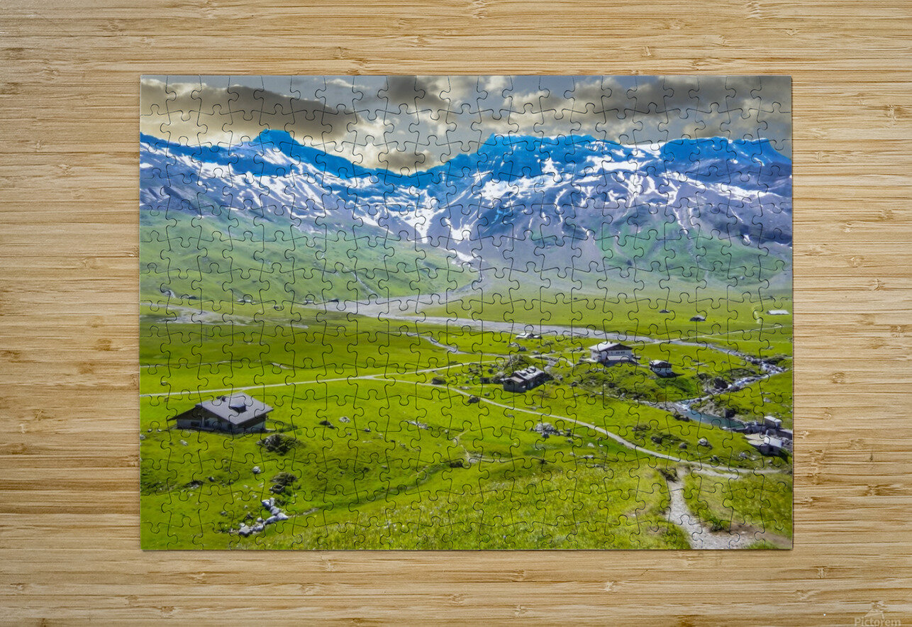 High Alps Village in Spring Switzerland  HD Metal print with Floating Frame on Back
