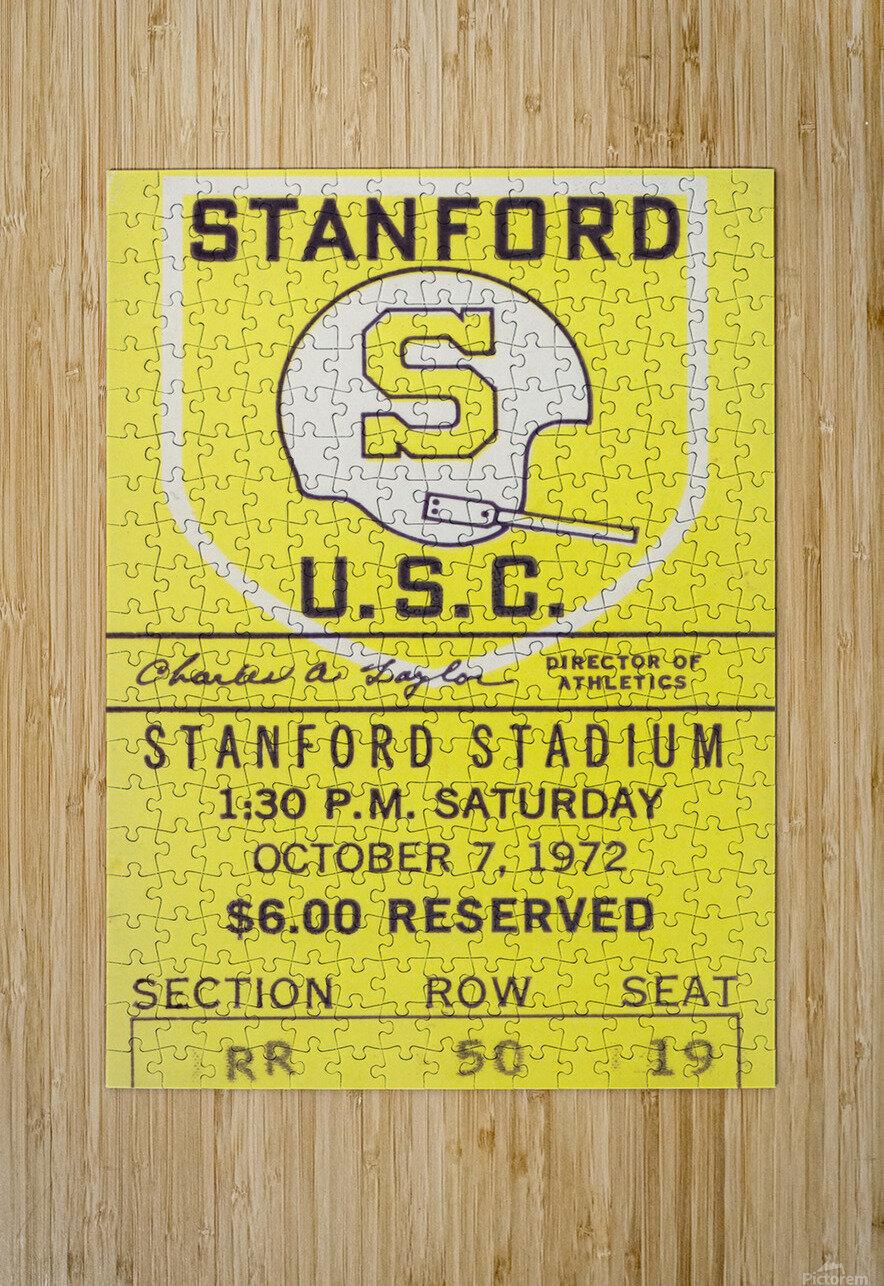 1972 Stanford vs. USC Ticket Stub Art  HD Metal print with Floating Frame on Back