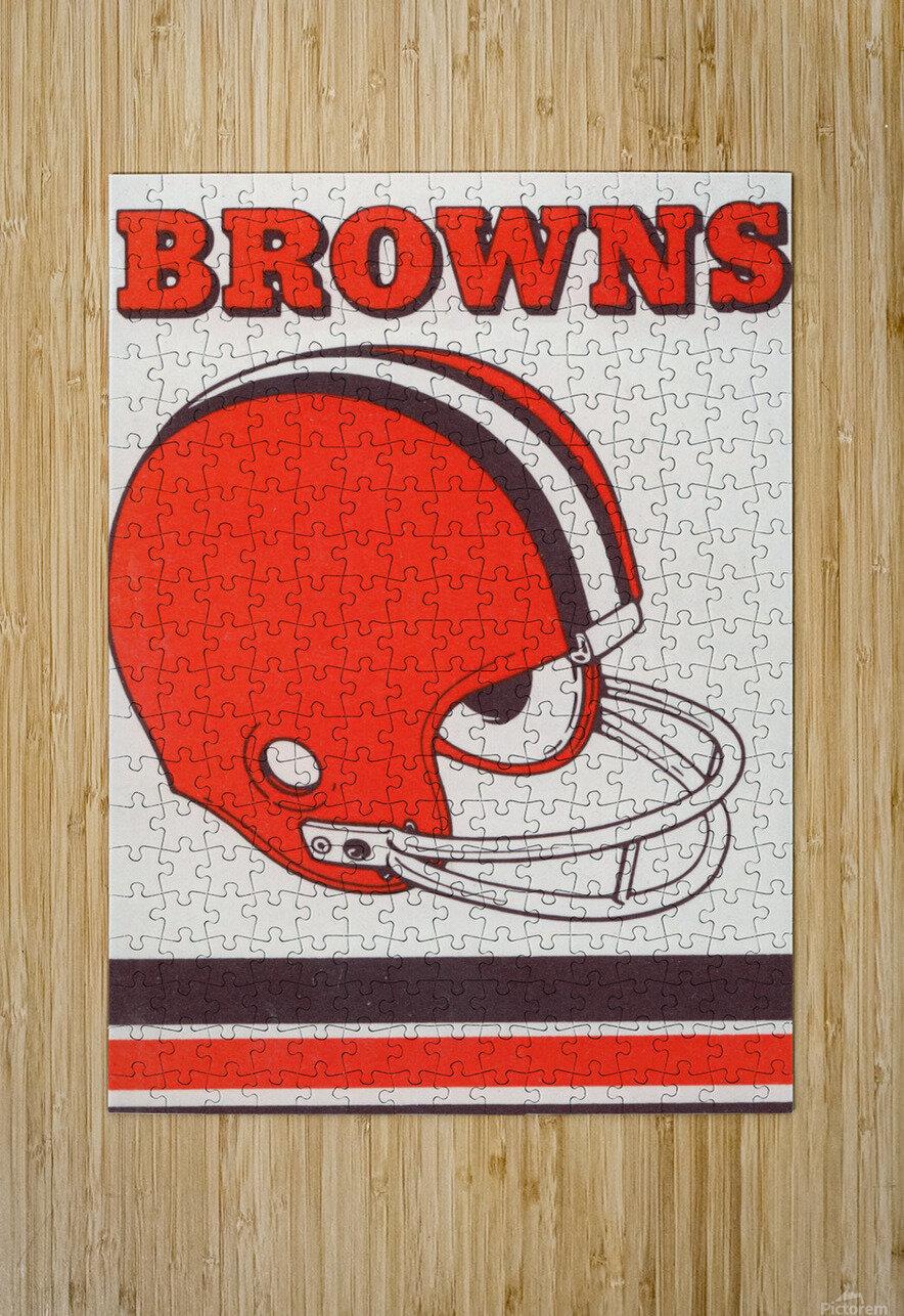 1975 Cleveland Browns Helmet Art  HD Metal print with Floating Frame on Back
