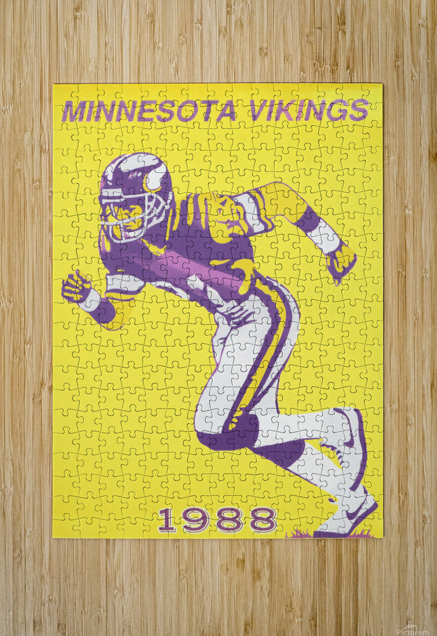 1988 Minnesota Vikings Football Poster  HD Metal print with Floating Frame on Back