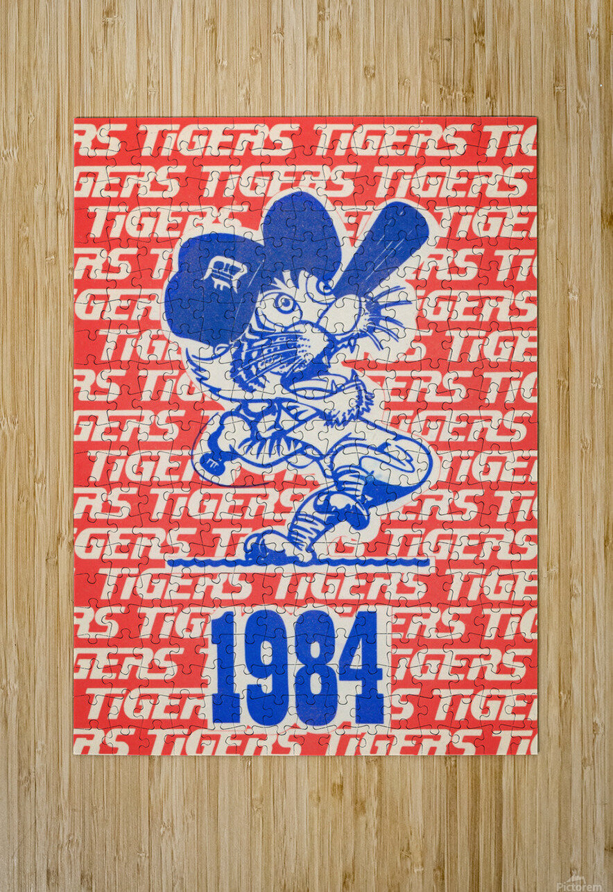 1984 Detroit Tigers Baseball Poster  HD Metal print with Floating Frame on Back