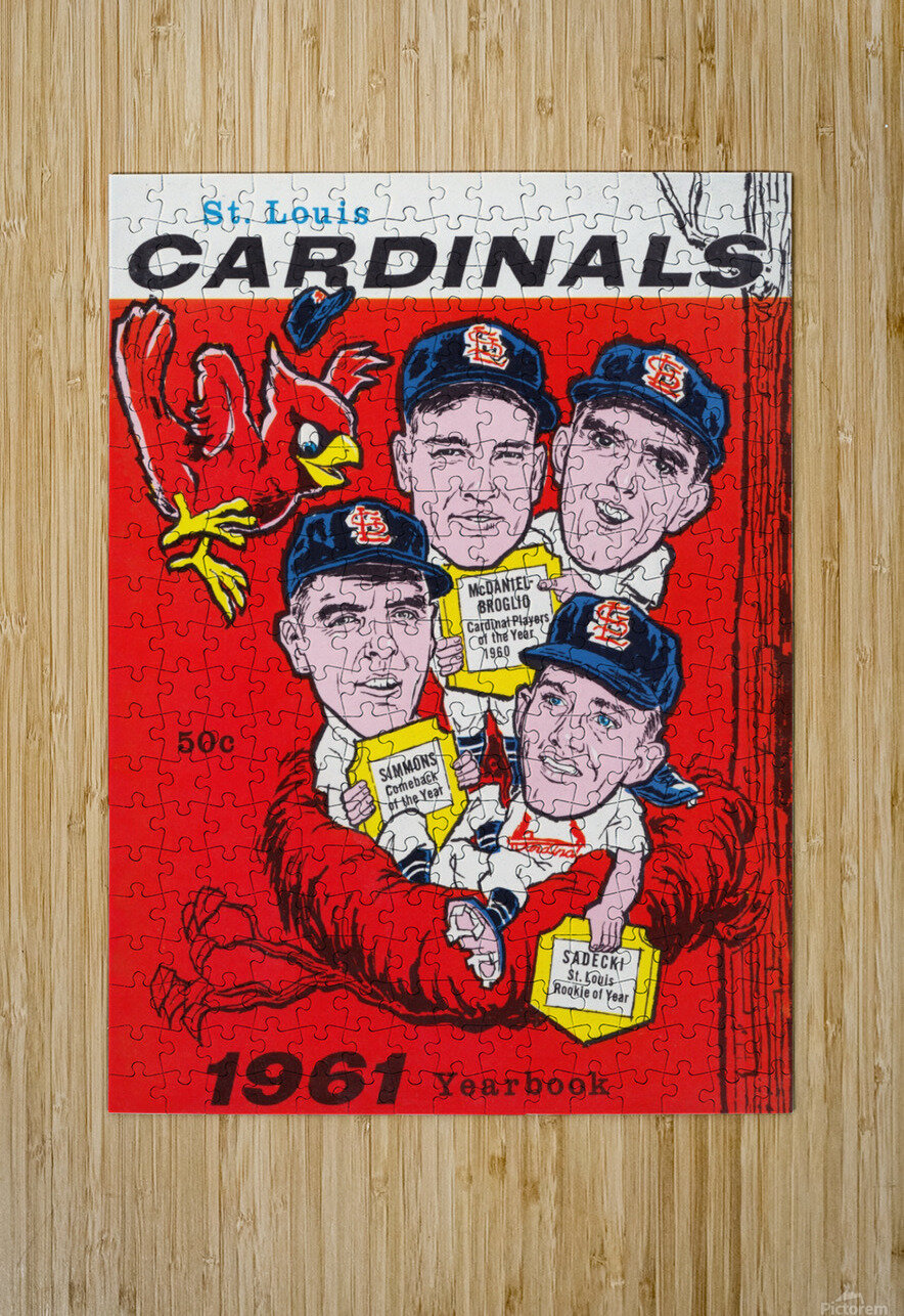 1961 St. Louis Cardinals Yearbook Poster  HD Metal print with Floating Frame on Back