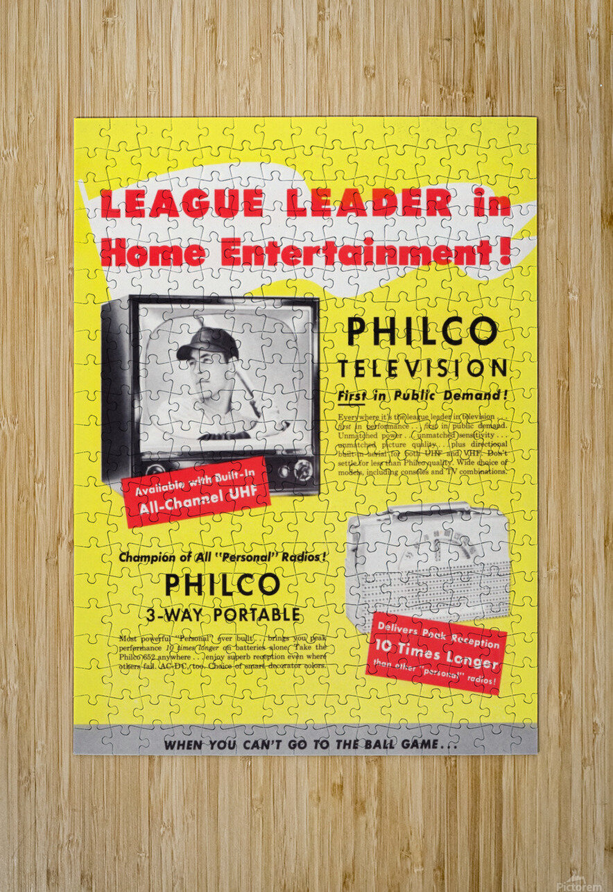 Vintage Philco Television Advertisement  HD Metal print with Floating Frame on Back