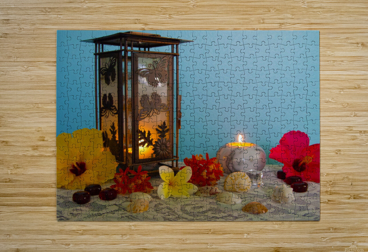 Candles and Flowers  HD Metal print with Floating Frame on Back