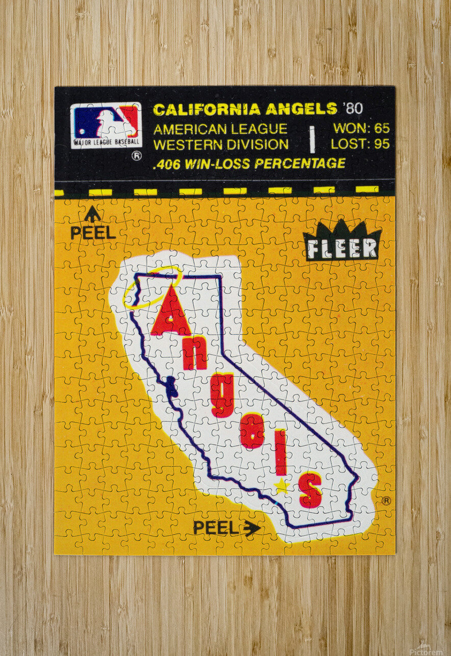 1981 Fleer Decal Poster California Angels  HD Metal print with Floating Frame on Back
