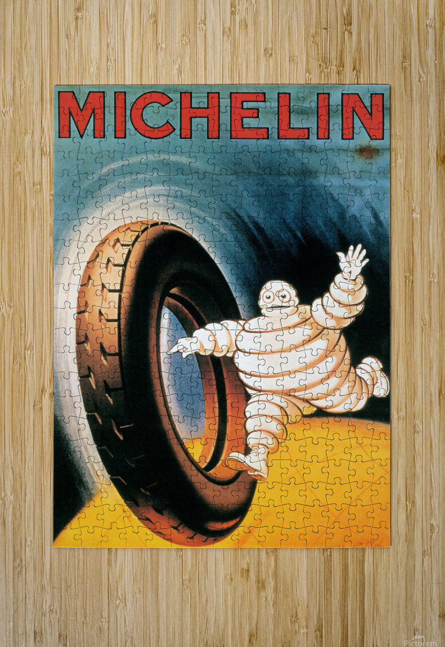 Michelin Poster  HD Metal print with Floating Frame on Back