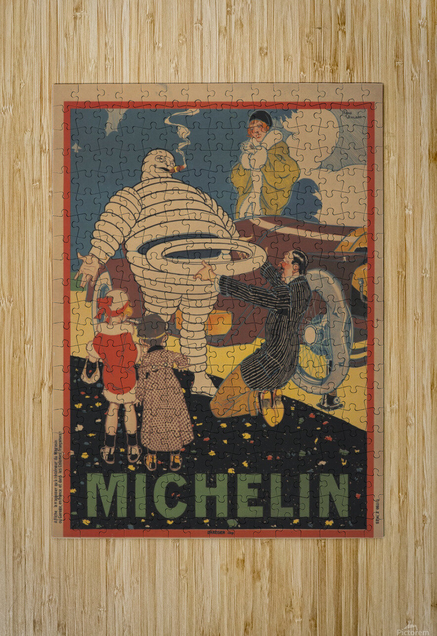 Michelin Pneu  HD Metal print with Floating Frame on Back
