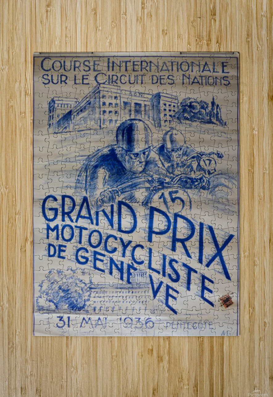 Grand Prix Motocycliste  HD Metal print with Floating Frame on Back