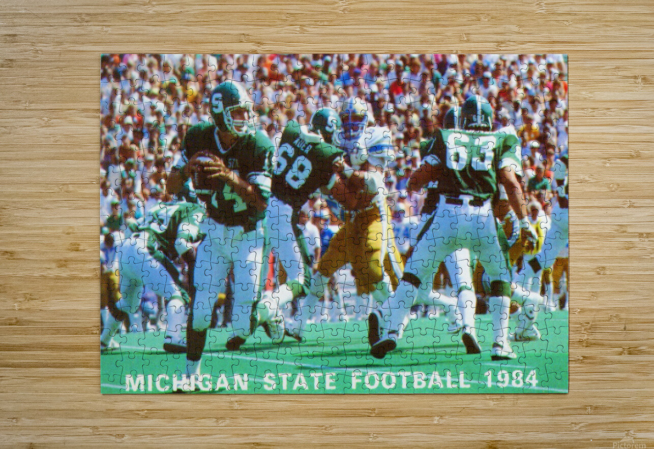 1984 Michigan State Football Poster  HD Metal print with Floating Frame on Back