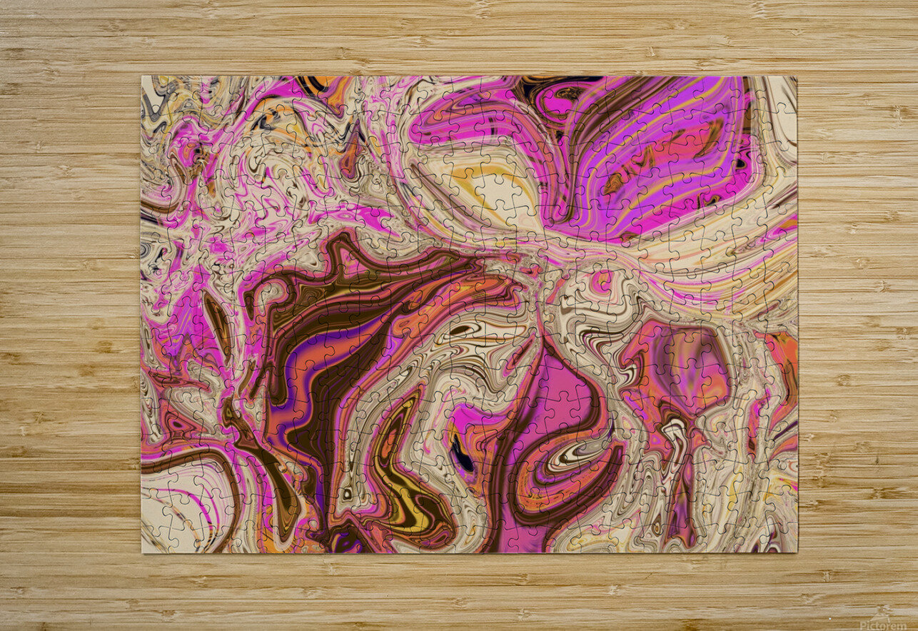 Paint Pour Tan and Pink  HD Metal print with Floating Frame on Back