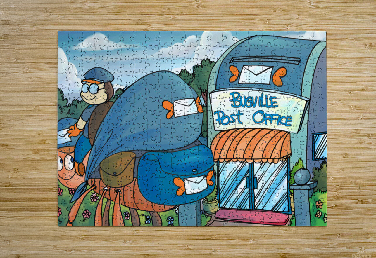 At the Post Office - Places in Bugville Collection 1 of 4  HD Metal print with Floating Frame on Back