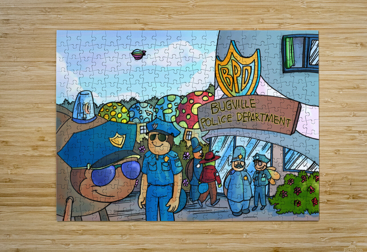 At the Police Department - Places in Bugville Collection 3 of 4  HD Metal print with Floating Frame on Back