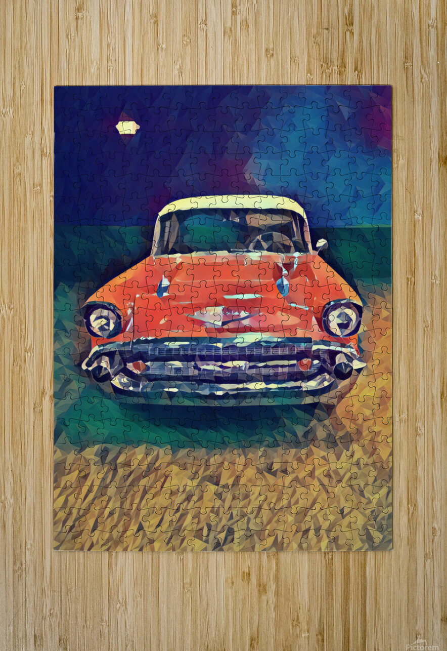 57 chevy car art  HD Metal print with Floating Frame on Back