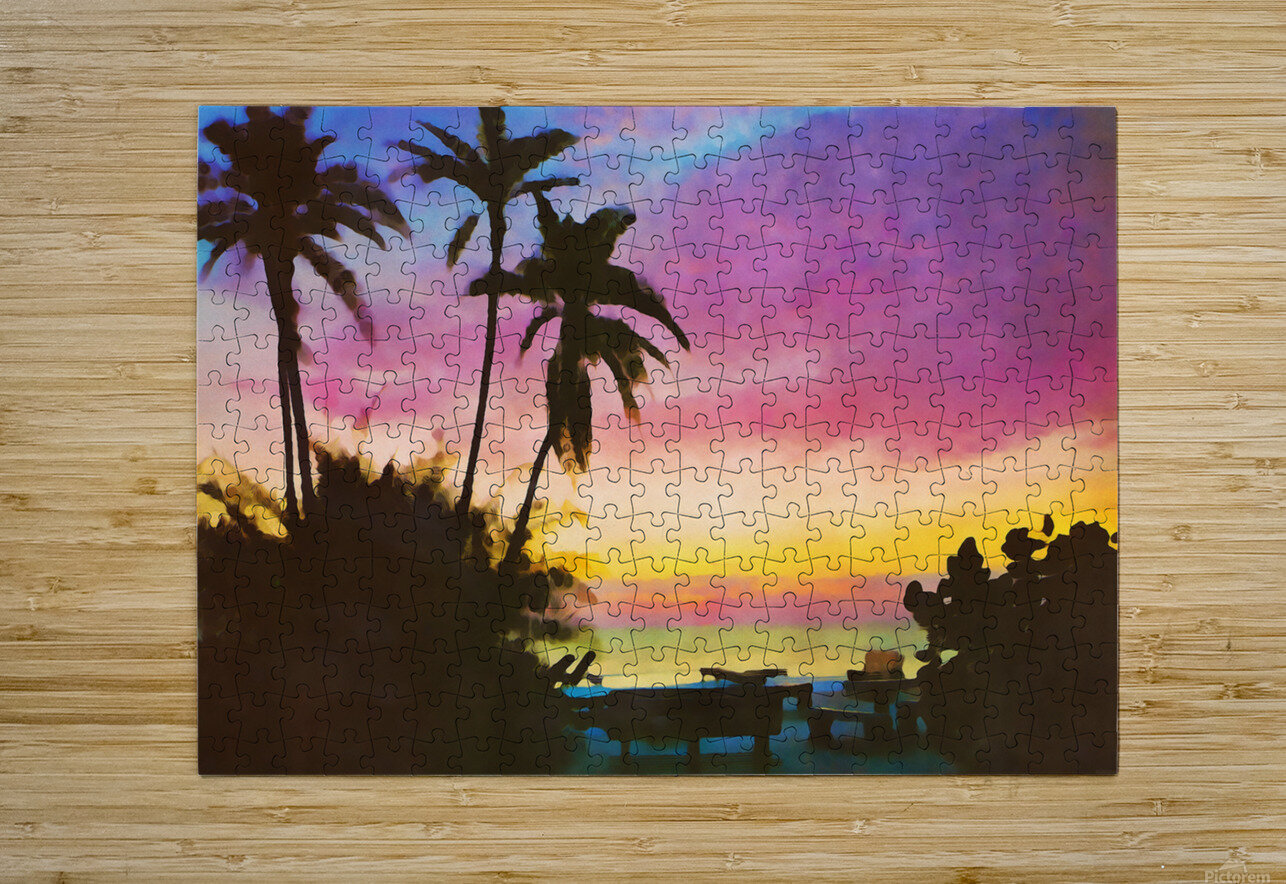 gulf of mexico sunset art  HD Metal print with Floating Frame on Back