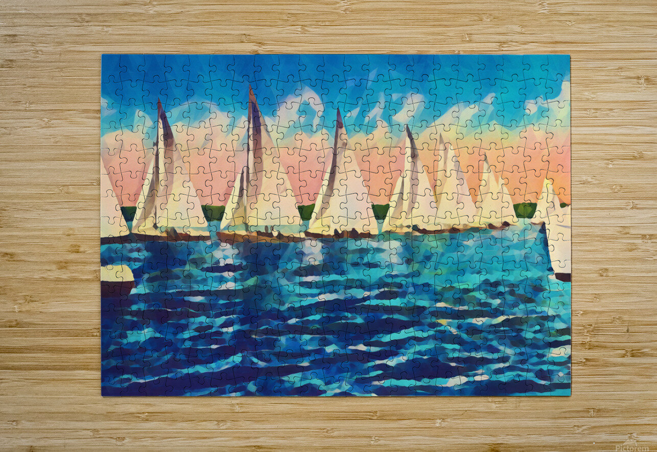 sail boats art  HD Metal print with Floating Frame on Back
