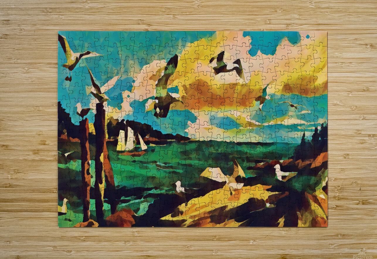 gulls laurence sisson maine art remix  HD Metal print with Floating Frame on Back
