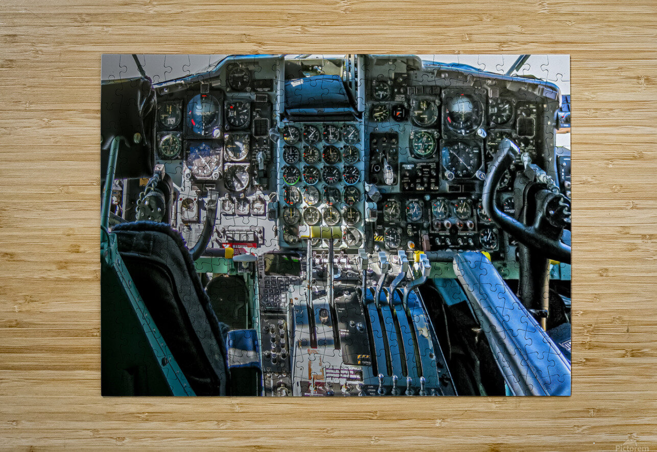 Aircraft Cockpit  HD Metal print with Floating Frame on Back
