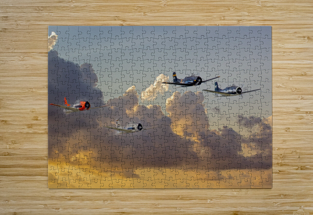 Four T 28 Trainers  HD Metal print with Floating Frame on Back