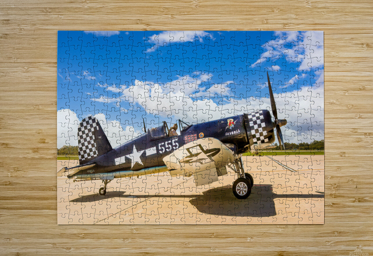F4U Corsair  HD Metal print with Floating Frame on Back